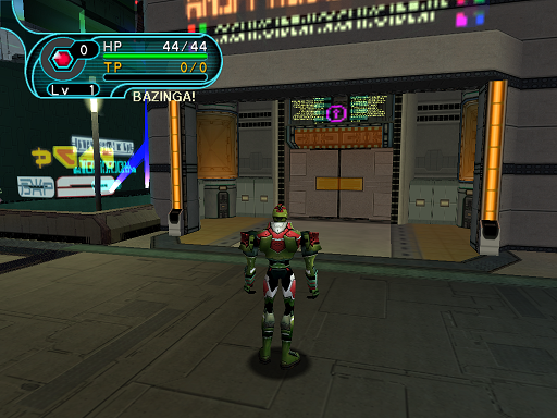 Phantasy Star Online - Pioneer 2 - A HUcast contemplates shopping at Pioneer 2's mini-mall