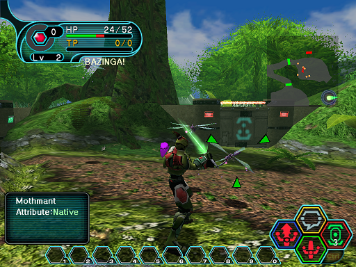 Phantasy Star Online - Forest - A HUcast has been surrounded by Mothmants