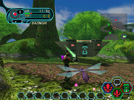 Phantasy Star Online - Forest - A HUcast being brutally attacked by Mothmants