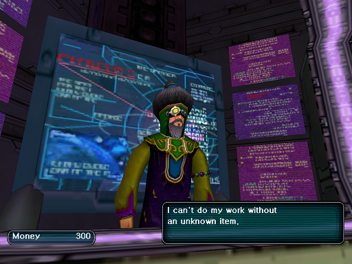 Phantasy Star Online - Shops - A HUcast is told by the Tekker to come back another time