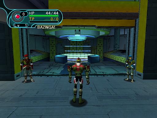 Phantasy Star Online - Pioneer 2 - A HUcast approaches the teleporter to Ragol