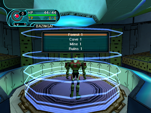 Phantasy Star Online - Pioneer 2 - A HUcast is deciding where on Ragol he would like to be teleported to