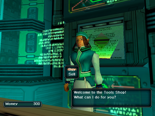 Phantasy Star Online - Shops - A HUcast speaks to the Tool shop owner