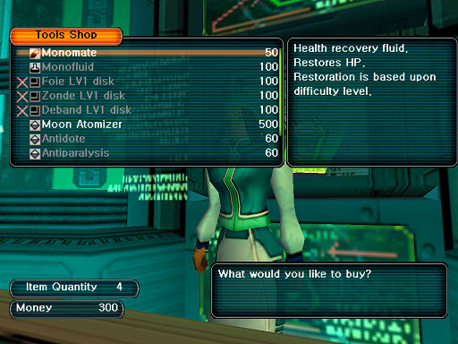Phantasy Star Online - Shops - A HUcast browses the Tool shop's wares